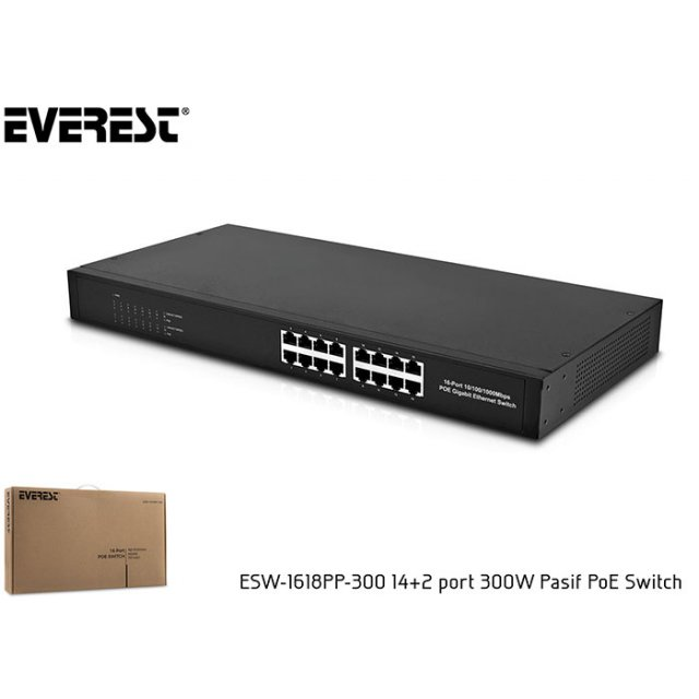 Everest ESW-1618PP-300 14+2 port 300W Pasif PoE Switch