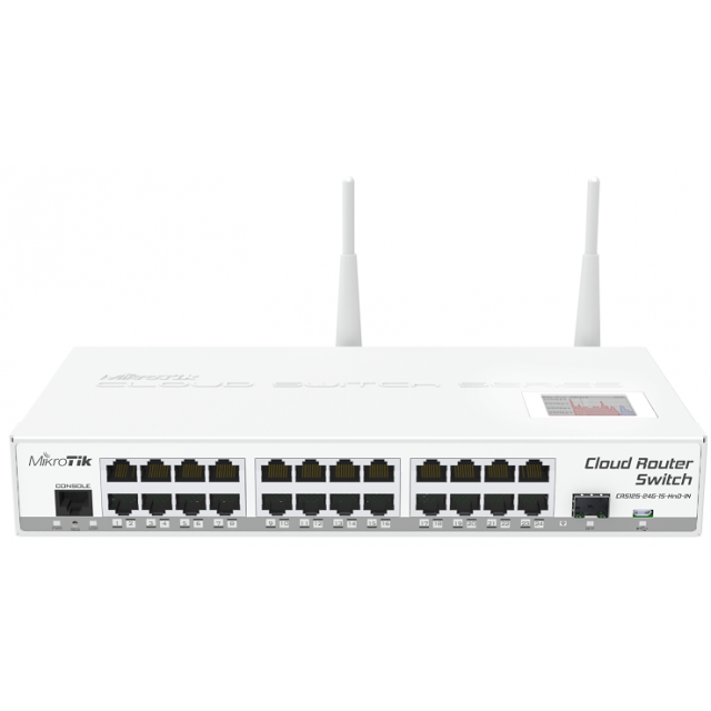 Cloud Router Switch L3 / 24 Port Gigabit 1 SFP 2.4Ghz Wireless CRS125-24G-1S-2HnD-IN