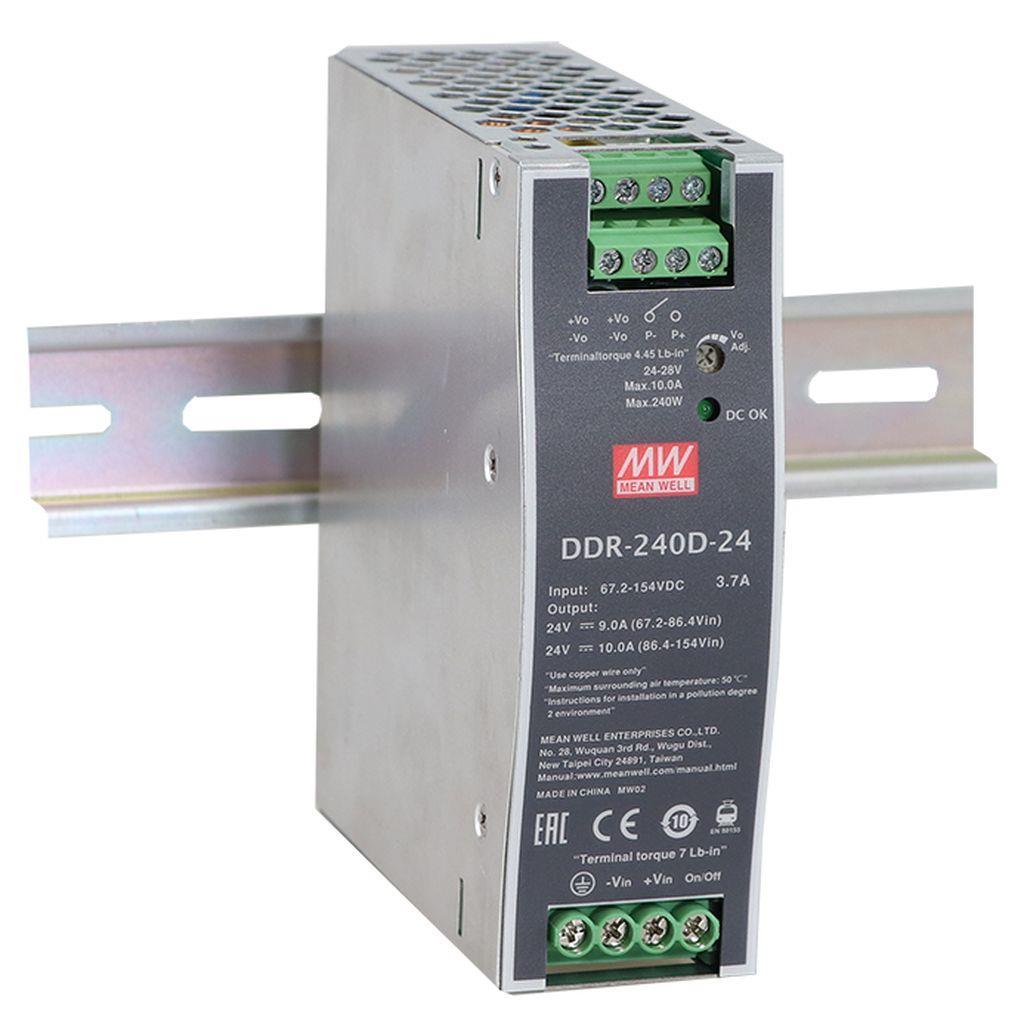 MW-DDR-240B-48 MEANWELL DDR-240B-48, INPUT 16.8-33.6DC - OUTPUT 48V - 5A - DIN RAIL