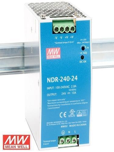MW-NDR-240-24 MEANWELL NDR-240-24 MW 240W DIN RAY TEK ÇIK.(24V, 10A)
