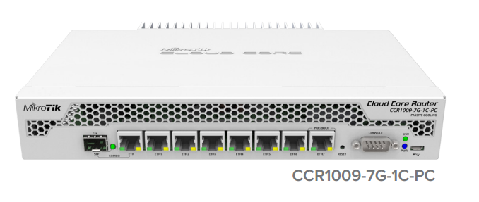 CCR1009-7G-1C-PC Cloud Core Router 1009-7G-1C-PC 1x Combo Port ,7xGbit LAN , 1xSFP+ 1Gbit , LCD, L6
