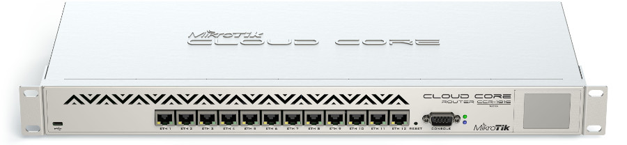 CCR1016-12G Cloud Core Router 1016-12G, 12xGbit LAN, LCD,L6 Firewall / Router