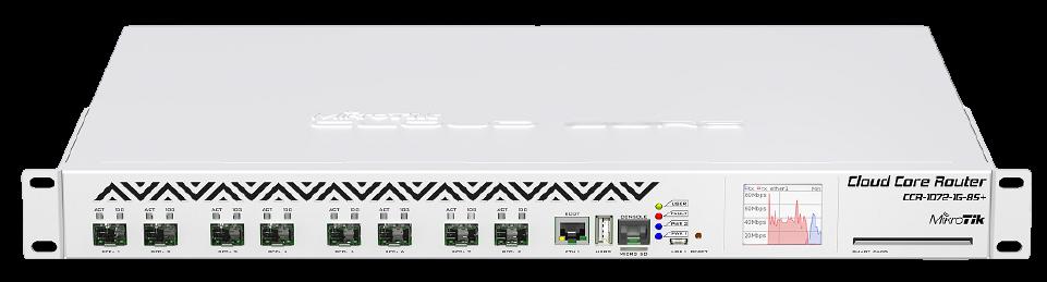CCR1072-1G-8S-PLUS Cloud Core Router 1072-1G-8S+ 16 GB RAM, 1x Gbit LAN, 8xSFP+ 10 Gbit , LCD Firewall / Router