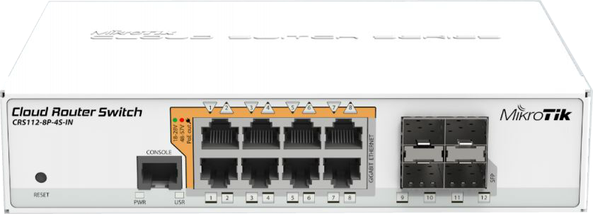 CRS112-8P-4S Cloud Router Switch CRS112-8P-4S-IN with POE-out and with RouterOS L5