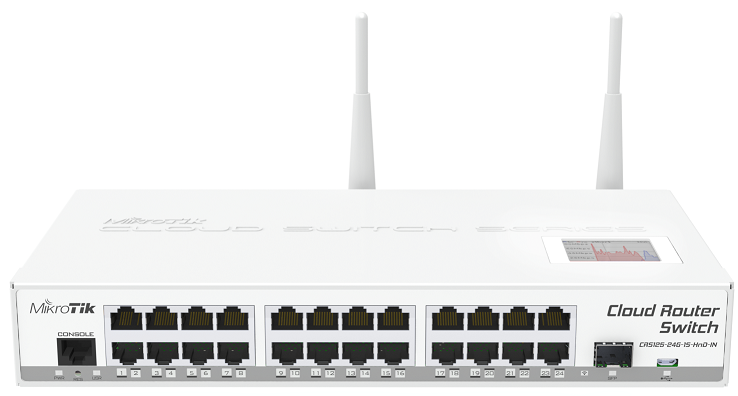 CRS125-24G-1S-2HnD-IN Cloud Router Switch 125-24G-1S-2HnD-IN 24xGbit Lan, 1xSFP, 2.4Ghz Wifi , LCD ,L5