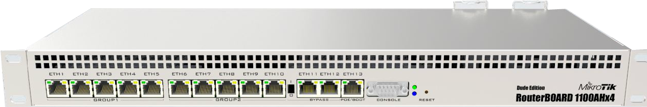 RB1100Dx4 Mikrotik RB1100Dx4, 13 Port Gbit LAN, RouterOS Level 6 , 1U Router / Firewall / Hotspot