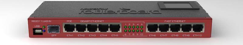 RB2011UiAS-IN Mikrotik 2011UiAS, 1xSFP port, 10 Port (5xLAN, 5xGbit LAN) , LCD, L5