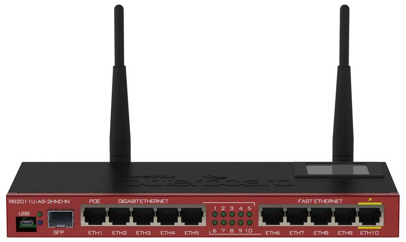 RB2011UiAS-2HnD-IN Mikrotik RB2011UiAS-2HnD-IN, 5xLAN,5xGbit LAN,1xSFP, 2.4 Ghz 4Dbi Omni Anten, LCD, L5