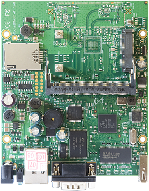 RB411U RouterBOARD 411U, 1 LAN, 1 MiniPCI, 1 MiniPCIe, 1 USB slot, RouterOS L4