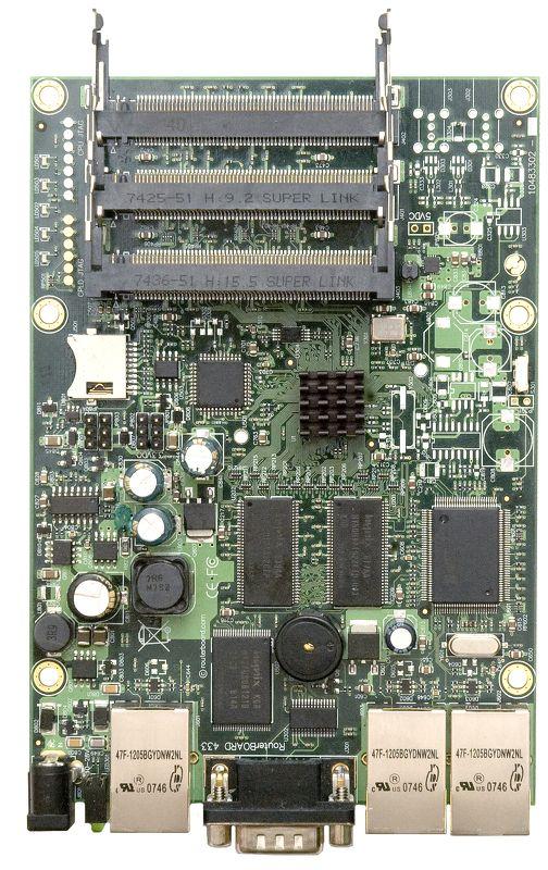 RB433AH RouterBOARD 433, 3 LAN, 3 miniPCI, RouterOS L5