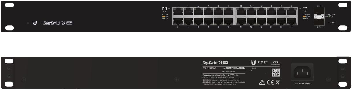 ES-24-250W Ubiquiti Edge Yön. Gigabit Switch POE+ 24x1Gbit Eth + 2x SFP 250 Watt