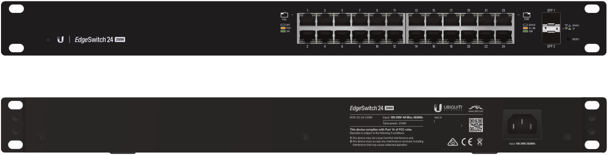 ES-24-500W Ubiquiti Edge Yön. Gigabit Switch POE+ 24x1Gbit Eth + 2x SFP 500 Watt